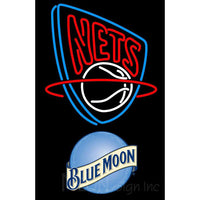 Blue Moon New Jersey Nets NBA Neon Sign
