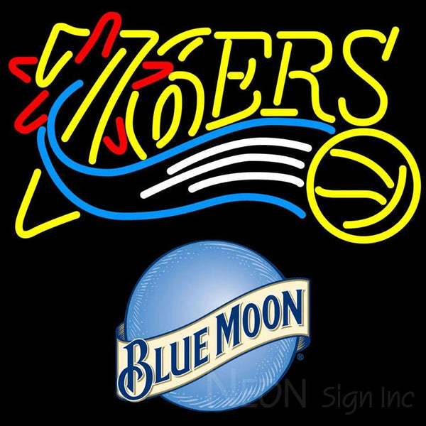 Blue Moon Philadelphia 76ers NBA Neon Sign