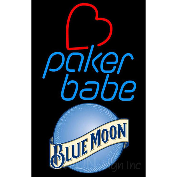 Blue Moon Poker Girl Heart Babe Neon Sign