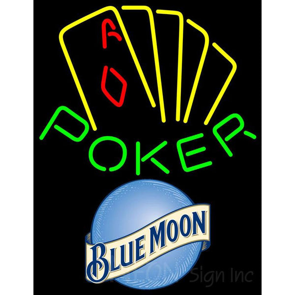 Blue Moon Poker Yellow Neon Sign