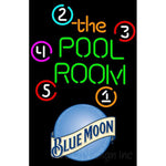 Blue Moon Pool Room Billiards Neon Beer Sign 8 0010
