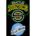 Blue Moon Seattle Supersonics NBA Neon Sign