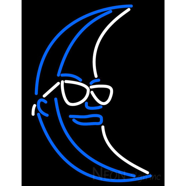 Blue White Light Up Moon Neon Sign