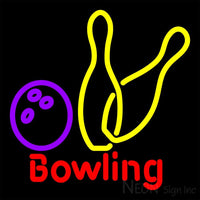 Bowling Neon Yellow Sign 16x16