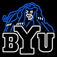 Brigham Young Cougars Secondary 1999 2004 Logo NCAA Neon Sign 1