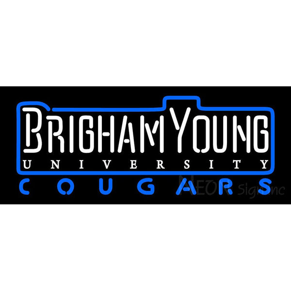 Brigham Young Cougars Wordmark 1999 2004 Logo NCAA Neon Sign