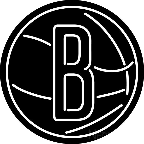 Brooklyn Nets Secondary 2012 13 Pres Logo NBA Neon Sign