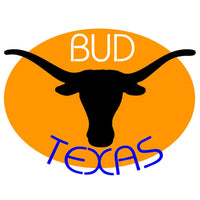 Bud Blue Texas Longhorn Saffron Background Neon Beer Sign