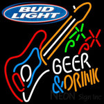 Bud Light Beer And Drink GUITAR Neon Sign 12 0003