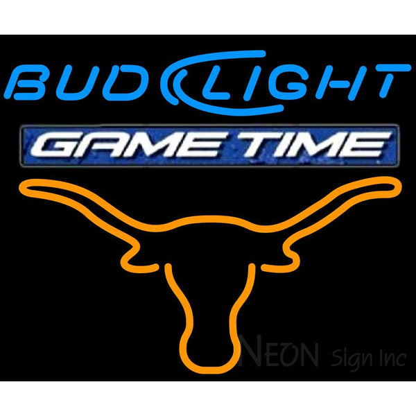 Bud Light Game Time Steer Neon Beer Sign