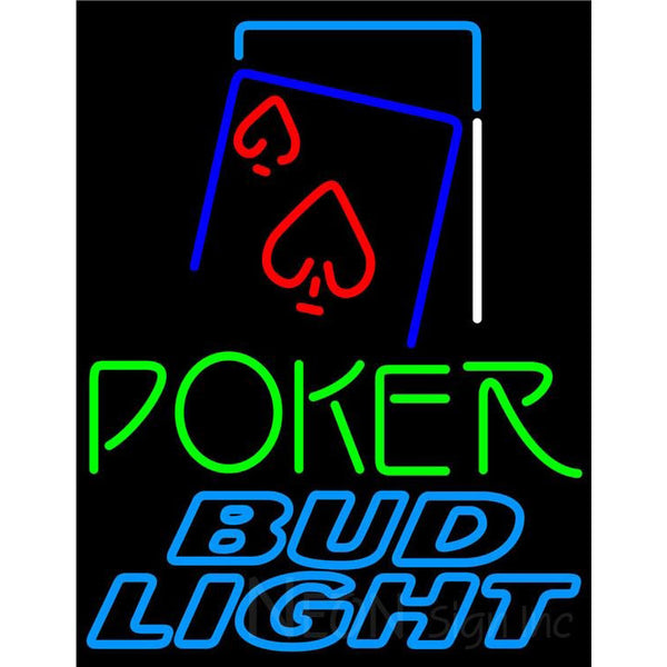 Bud Light Green Poker Red Heart Neon Sign