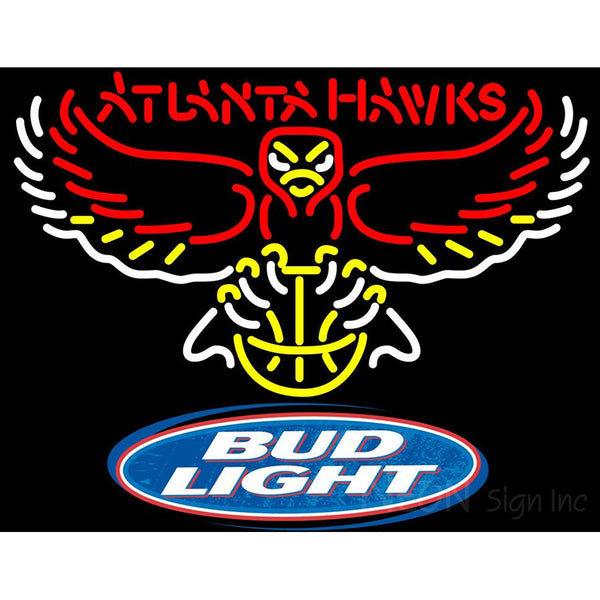 Bud Light Logo Atlanta Hawks NBA Neon Sign