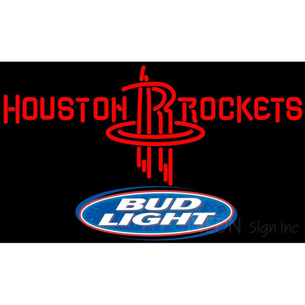 Bud Light Logo Houston Rockets NBA Neon Sign