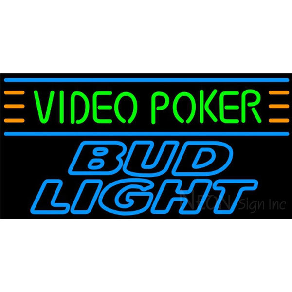 Bud Light Neon Video Poker Neon Sign 7 0011