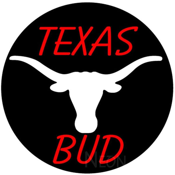 Bud Red Texas White Longhorn Neon Beer Sign 24x24