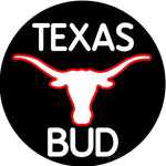 Bud White Texas Red Longhorn Neon Beer Sign