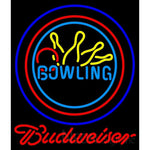 Budweiser Neon Bowling Neon Yellow Blue Sign 9 0013