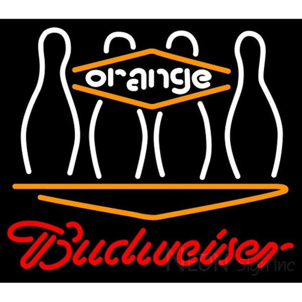 Budweiser Neon Bowling Orange Neon Sign 9 0019