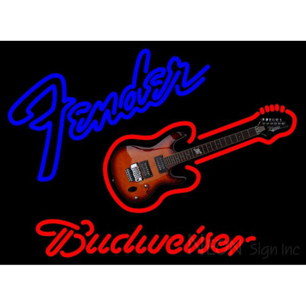 Budweiser Neon Fender Guitar Neon Sign 12 0001