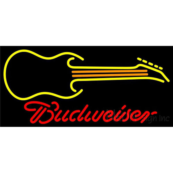 Budweiser Neon Guitar Yellow Orange Neon Sign 12 0043