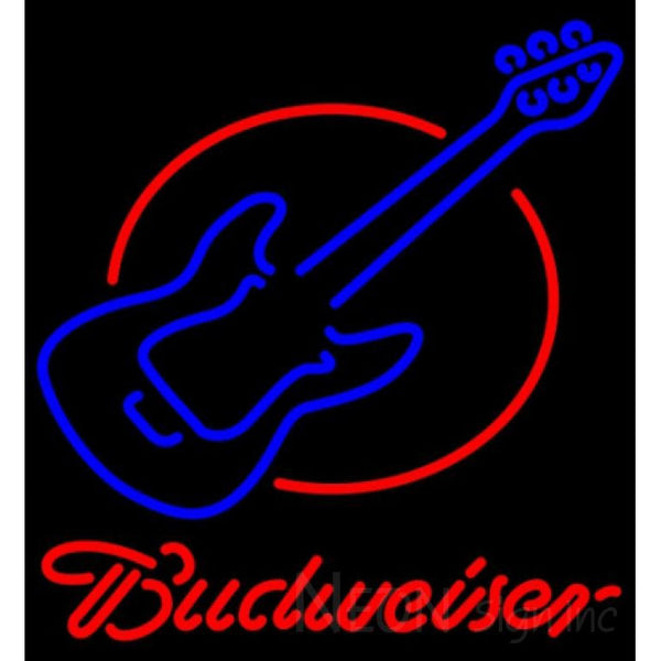 Budweiser Neon Red Round Guitar Neon Sign 12 0052