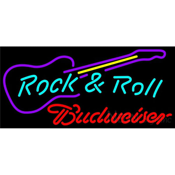 Budweiser Neon Rock N Roll Guitar Neon Sign 12 0001