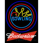 Budweiser Red Bowling Neon Yellow Blue Sign 9 0015