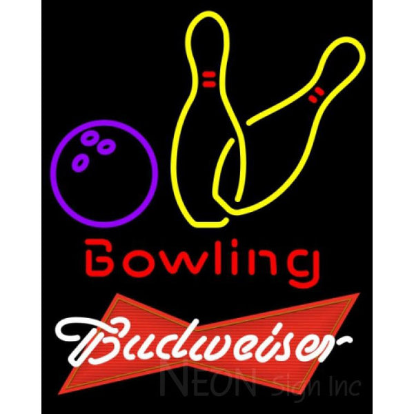Budweiser Red Bowling Neon Yellow Sign 9 0018