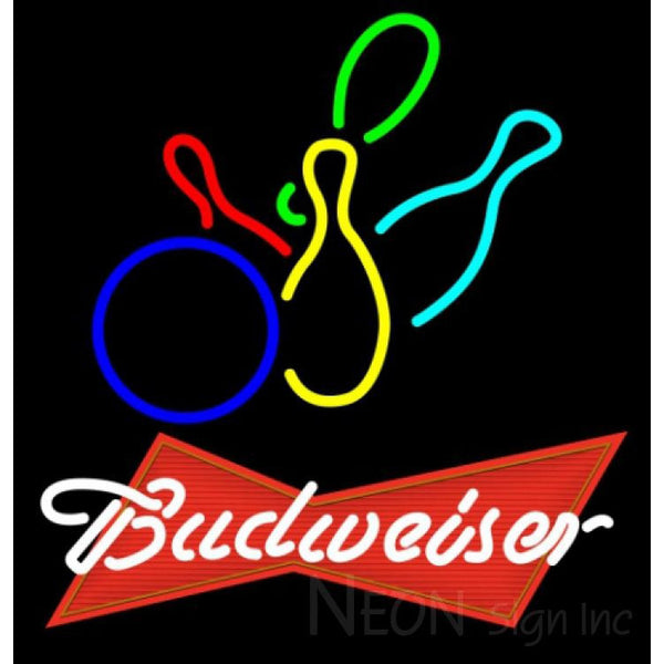 Budweiser Red Colored Bowling Neon Sign 9 0003 24x25