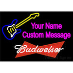 Budweiser Red Guitar Logo Neon Sign 12 0033