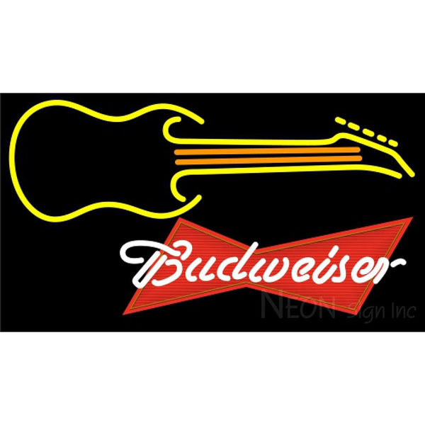Budweiser Red Guitar Yellow Orange Neon Sign 12 0045
