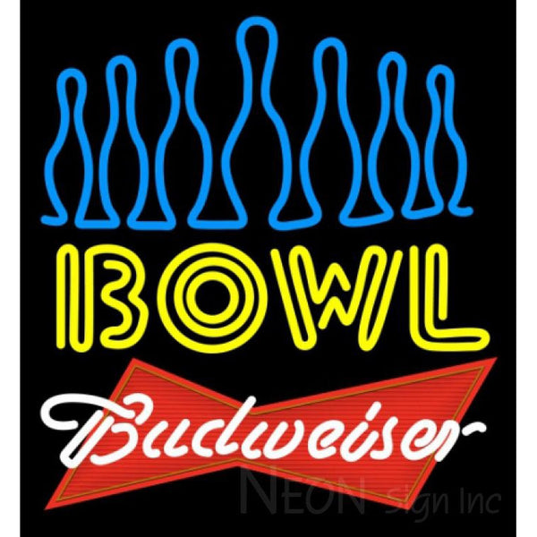 Budweiser Red Ten Pin Bowling Neon Sign 9 0006