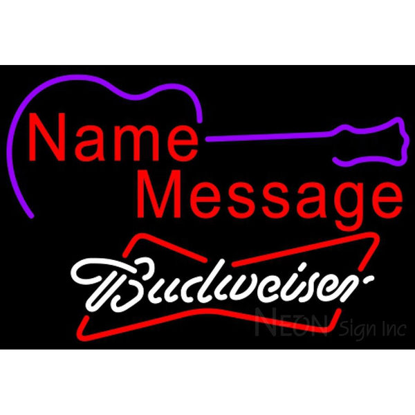 Budweiser White Acoustic Guitar Neon Sign 12 0002
