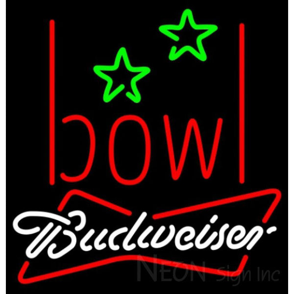 Budweiser White Bowling Alley Neon Sign 9 0002 24x25