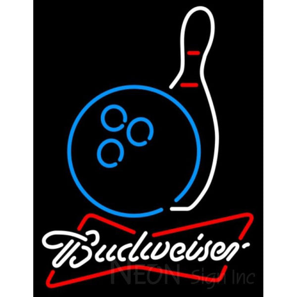 Budweiser White Bowling Neon Blue White Neon Sign 9 0005