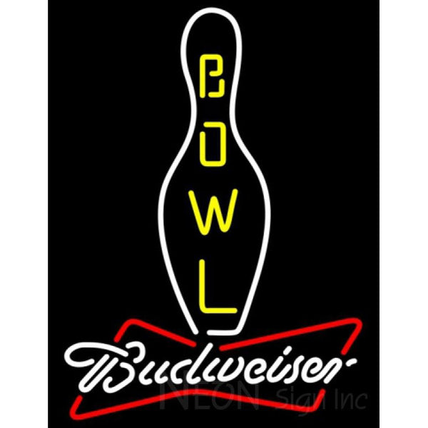 Budweiser White Bowling Neon Sign 9 0032