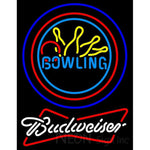 Budweiser White Bowling Neon Yellow Blue Sign 9 0014