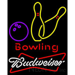 Budweiser White Bowling Neon Yellow Sign 9 0017