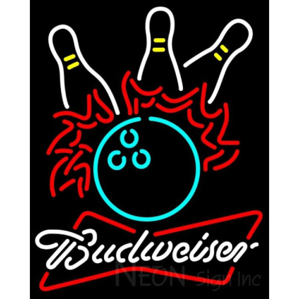 Budweiser White Bowling Pool Neon Sign 9 0022