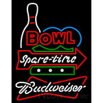 Budweiser White Bowling Spare Time Neon Sign 9 0024