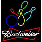 Budweiser White Colored Bowling Neon Sign 9 0002 24x25