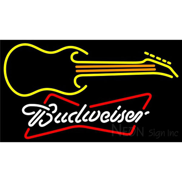 Budweiser White Guitar Yellow Orange Neon Sign 12 0044
