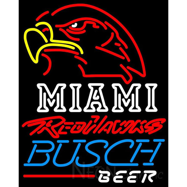 Busch Beer Miami UNIVERSITY Redhawks Neon Sign 4 0004