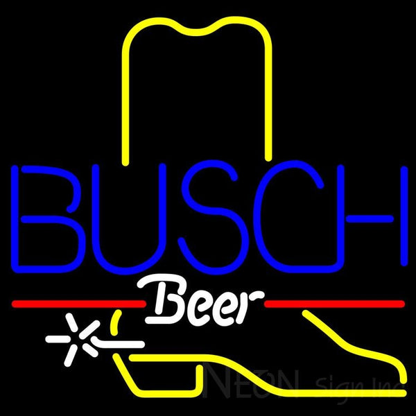 Busch Cowboy Boot Neon Beer Sign 24x24