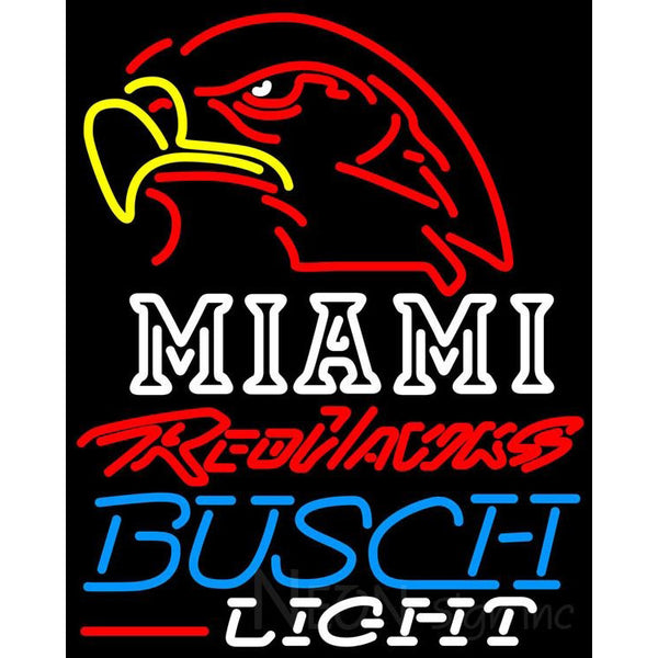 Busch Light Miami UNIVERSITY Redhawks Neon Sign 4 0005