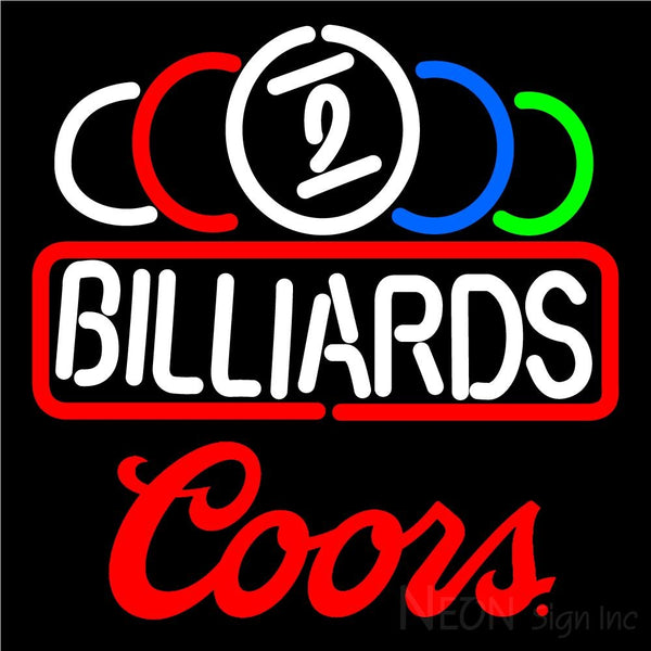 Coors Ball Billiard Text Pool Neon Beer Sign 8 0013 16x16