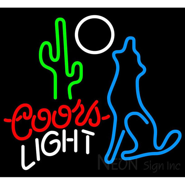 Coors light beer neon signs neon sign inc coors light coyote moon neon beer sign 24x22 mozeypictures Choice Image