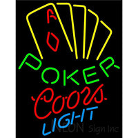 Coors Light Poker Yellow Neon Sign