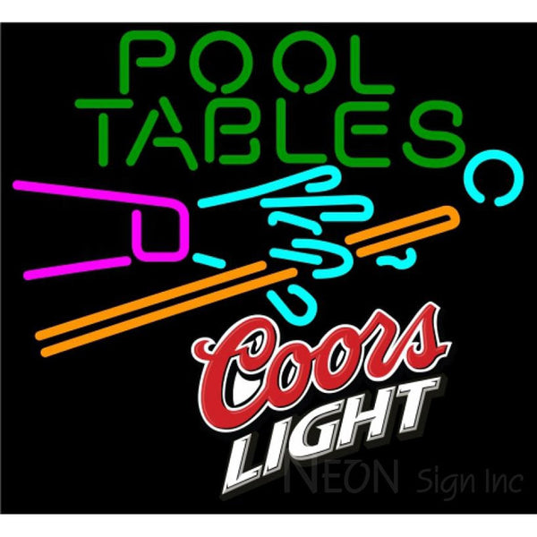 Coors Light Pool Tables Billiards Neon Beer Sign 8 0051