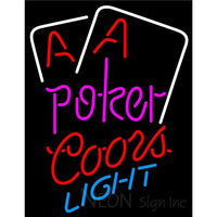 Coors Light Purple Lettering Red Aces White Cards Neon Sign
